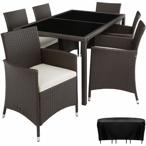 Rattan garden furniture set Lissabon 6+1 with protective cover - garden tables and chairs, garden furniture set, outdoor table and chairs