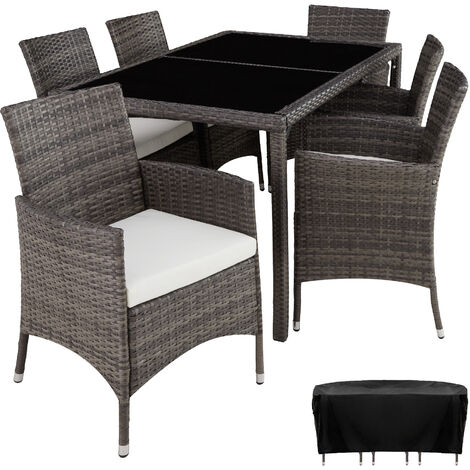 """main image of """"Rattan garden furniture set Lissabon 6+1 with protective cover - garden tables and chairs, garden furniture set, outdoor table and chairs"""""""