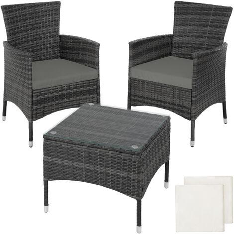 Rattan garden furniture set Lucerne - garden tables and chairs, garden furniture set, outdoor table and chairs - grey - grey