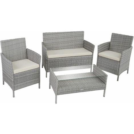 Rattan garden furniture Set Madeira - garden tables and chairs, garden furniture set, outdoor table and chairs - brown - brown