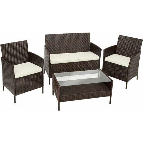 Rattan garden furniture Set Madeira - garden tables and chairs, garden furniture set, outdoor table and chairs - brown - marrón