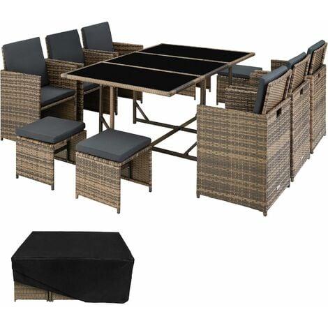 Rattan garden furniture set Malaga 6+4+1 with protective cover - garden tables and chairs, garden furniture set, outdoor table and chairs