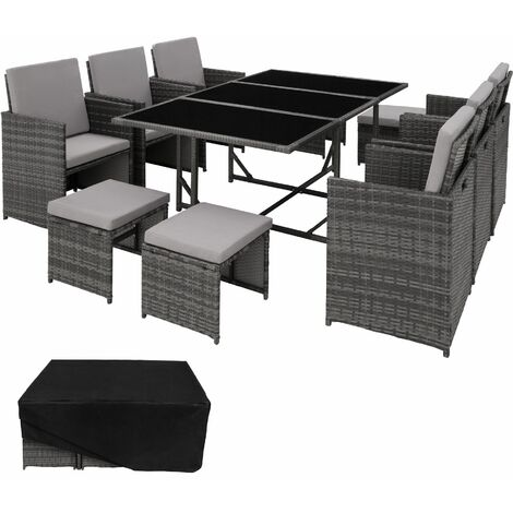 """main image of """"Rattan garden furniture set Malaga 6+4+1 with protective cover - garden tables and chairs, garden furniture set, outdoor table and chairs"""""""