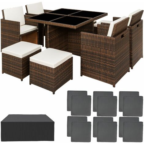 Rattan garden furniture set Manhattan with protective cover - garden tables and chairs, garden furniture set, outdoor table and chairs