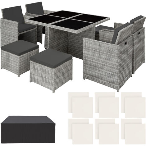 Rattan garden furniture set Manhattan with protective cover, variant 2 - garden tables and chairs, garden furniture set, outdoor table and chairs