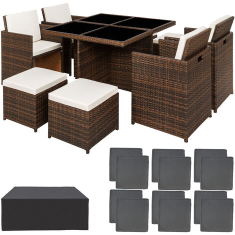 Rattan garden furniture set Manhattan with protective cover, variant 2 - garden tables and chairs, garden furniture set, outdoor table and chairs - black/brown - black/brown