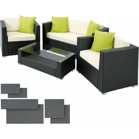 903072a35d2f Rattan garden furniture set Munich black - 400801