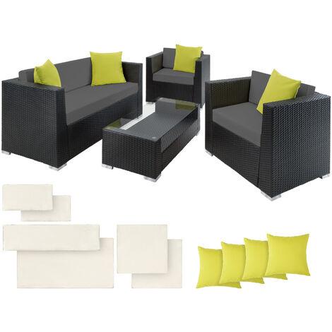 Rattan garden furniture set Munich, variant 2 - garden sofa, rattan sofa, garden sofa set - black