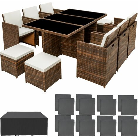 Rattan garden furniture set New York with protective cover, variant 1 - garden tables and chairs, garden furniture set, outdoor table and chairs
