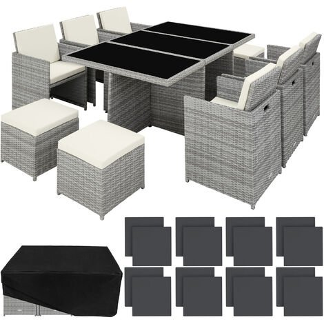 Rattan garden furniture set New York with protective cover, variant 2 - garden tables and chairs, garden furniture set, outdoor table and chairs