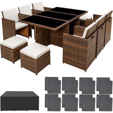 Rattan garden furniture set New York with protective cover, variant 2 - garden tables and chairs, garden furniture set, outdoor table and chairs - black/brown - schwarz/braun