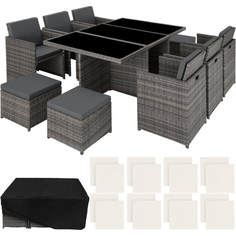 Rattan garden furniture set New York with protective cover, variant 2 - garden tables and chairs, garden furniture set, outdoor table and chairs - grey - grey