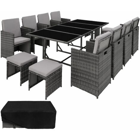 Rattan garden furniture set Palma 8+4+1 with protective cover, variant 2 - garden tables and chairs, garden furniture set, outdoor table and chairs - grey - grau