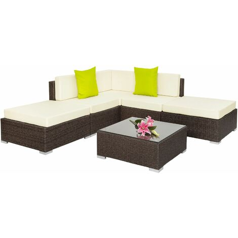 Rattan garden furniture set Paris - garden sofa, garden corner sofa, rattan sofa - antique brown