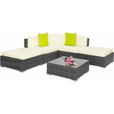 Rattan garden furniture set Paris - garden sofa, garden corner sofa, rattan sofa - grey