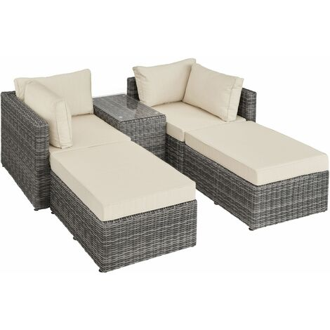 Rattan garden furniture set San Domino with aluminium frame - garden sofa, rattan sofa, garden sofa set