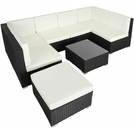 Rattan garden furniture lounge Venice - garden sofa, garden corner sofa, rattan sofa - black - schwarz