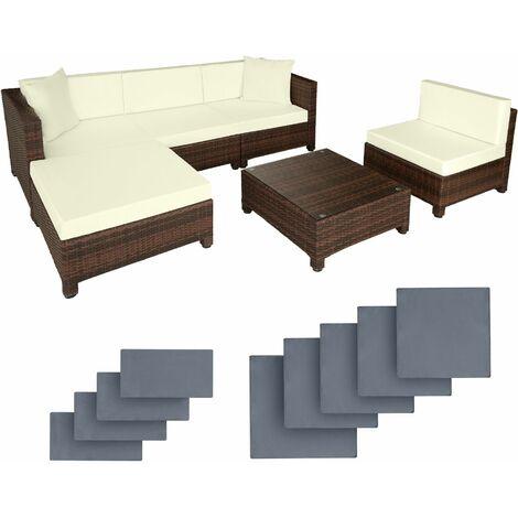 Rattan garden furniture set with aluminium frame - garden sofa, rattan sofa, garden sofa set - black/brown