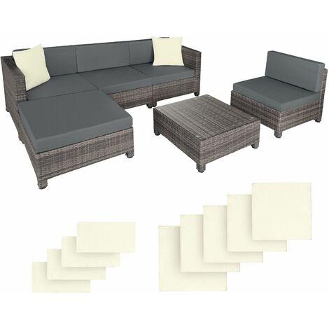Rattan garden furniture set with aluminium frame, variant 2 - garden sofa, rattan sofa, garden sofa set - grey - grigio