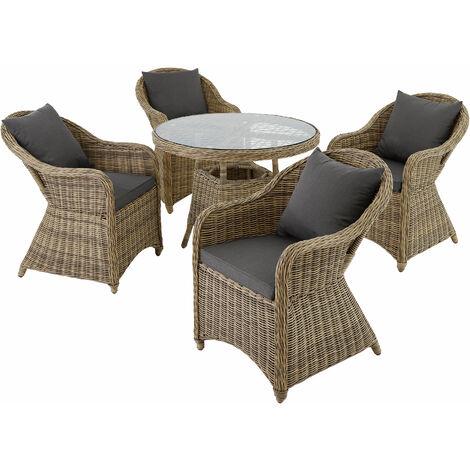 Rattan garden furniture set Zurich with 4 armchairs and table - garden tables and chairs, garden furniture set, outdoor table and chairs