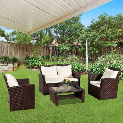Rattan Garden Sofa Furniture Sets Patio Conservatory 4 Seaters Armchairs Table wish Cushion - Different colours