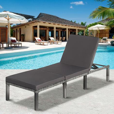 Rattan Garden Sun Lounger Sun Bed with Cushions Recliner Garden Chair Black