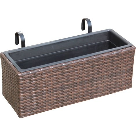 Rattan Hand Woven Rectangle Window Basket Flower Pots Planters Garden Furniture