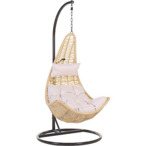 Rattan Hanging Chair with Stand Beige ATRI II