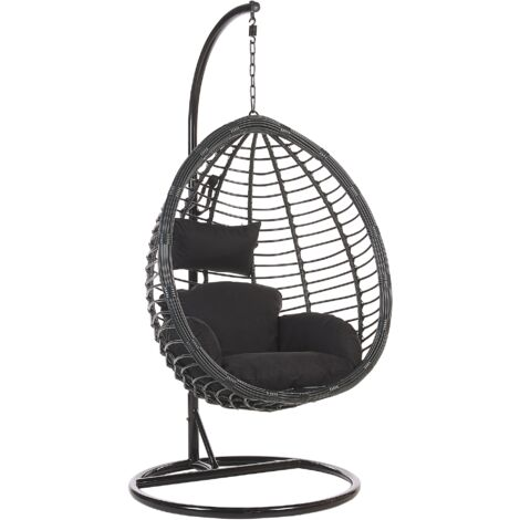 Rattan Hanging Chair with Stand Black TOLLO