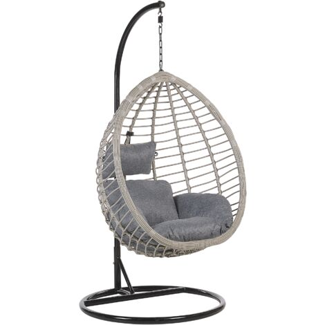 Rattan Hanging Chair with Stand Grey TOLLO