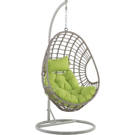 Rattan Hanging Egg Chair with Stand Swing Green Cushion PE Wicker Beige Arpino