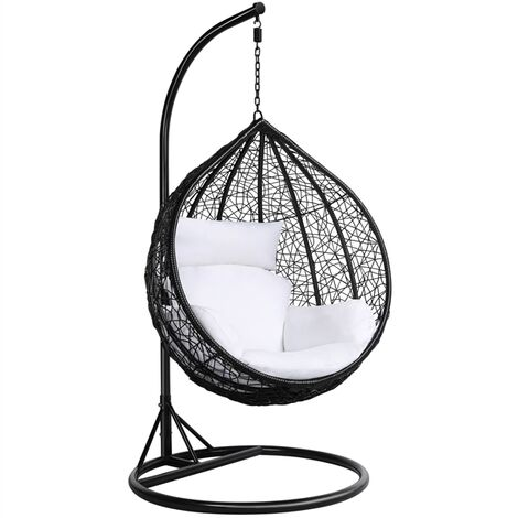 Rattan Hanging Swing Chair with cushion Wicker Beach Garden Hanging Hammock Seat