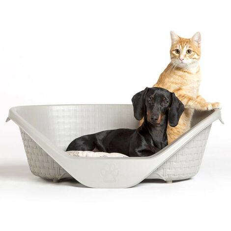 rattan-look basket 60 x 44 x 21 cm H for dogs Nido range. light grey colour