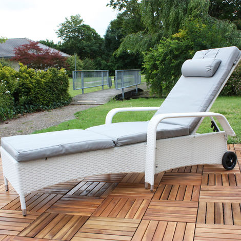 Rattan Lounge adjustable Sun lounger Polyrattan Lounge Garden lounger White