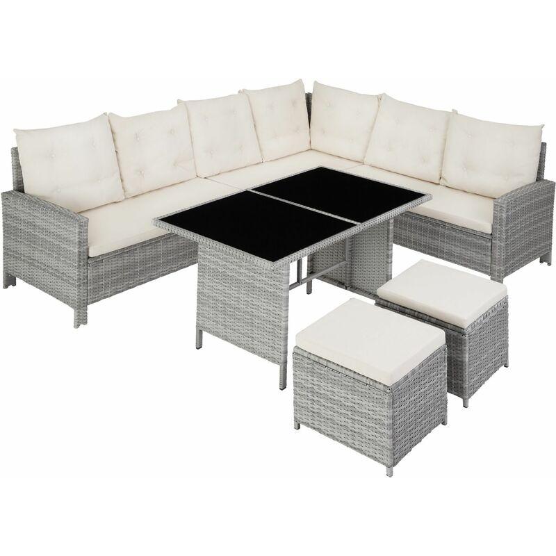 Rattan Lounge Barletta, Variante 2 - Loungemöbel, Gartenmöbel, Gartengarnitur - hellgrau - gris claro - TECTAKE