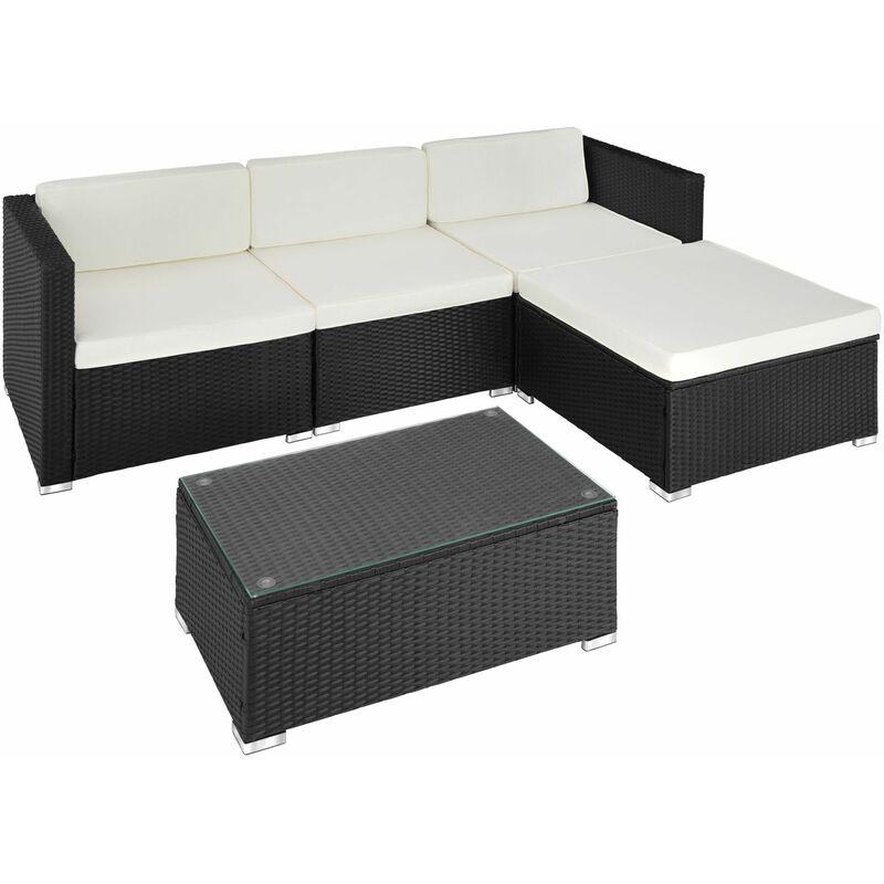 Rattan Lounge Florenz - Gartenlounge, Terrassenmöbel, Rattan Lounge -  schwarz