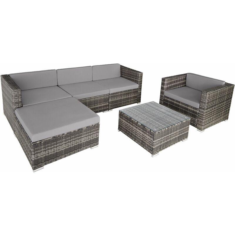 Rattan Lounge Milano - Loungemöbel, Gartenmöbel, Gartengarnitur - grau