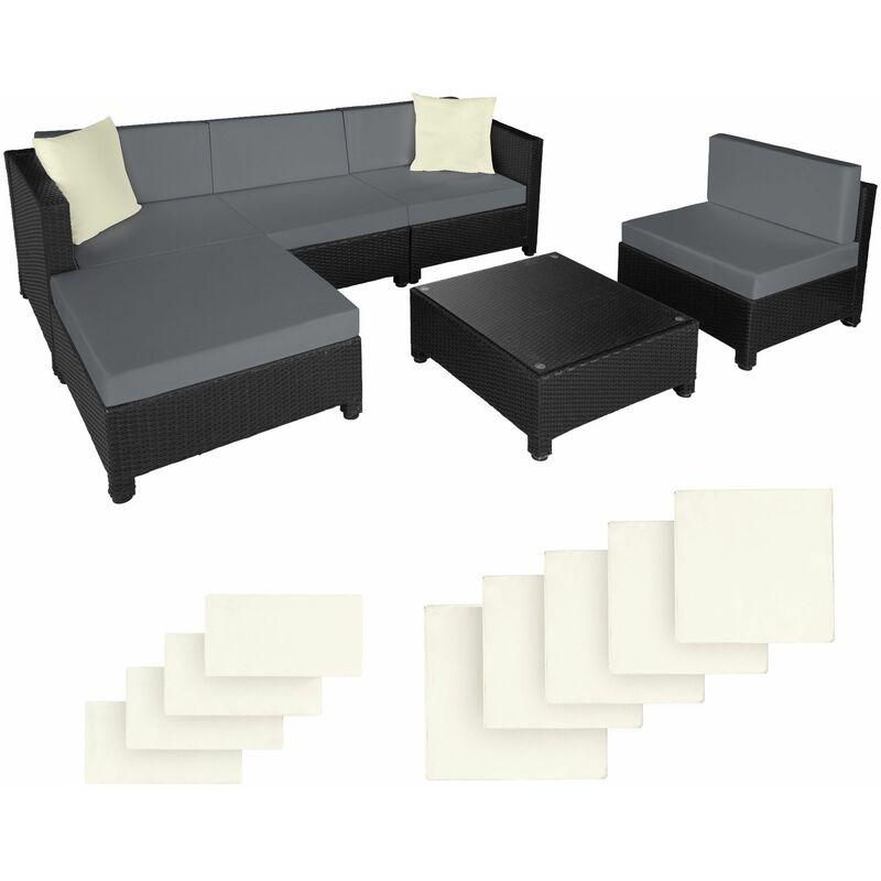Rattan Lounge mit Aluminiumgestell inkl. Bezüge in 2 Farben, Variante 2 - Loungemöbel, Gartenmöbel, Gartengarnitur - schwarz - schwarz - TECTAKE