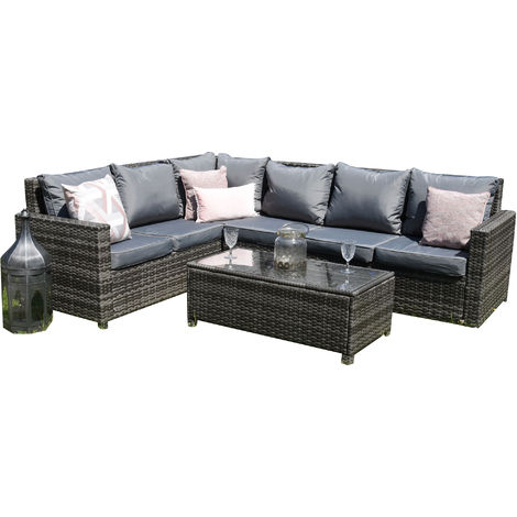 Rattan Outdoor Corner Sofa Set Garden Furniture in Grey