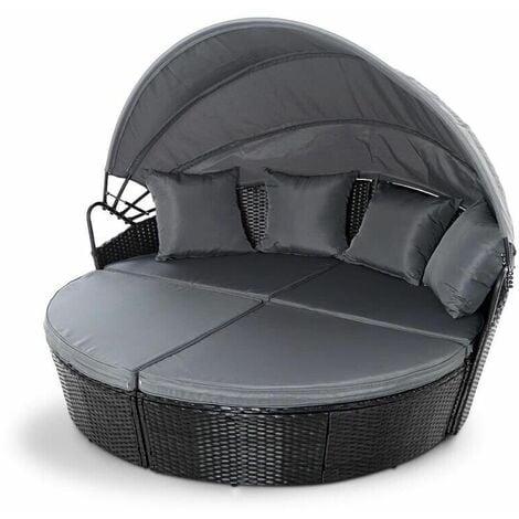 "main image of ""Rattan Outdoor Garden Bali Day Bed Patio Sun Lounge in Black - Black"""