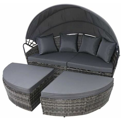 Rattan Outdoor Garden Bali Day Bed Patio Sun Lounge in Mixed Grey