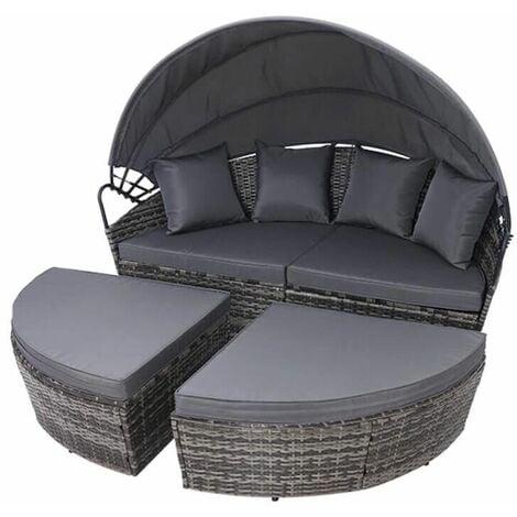"main image of ""Rattan Outdoor Garden Bali Day Bed Patio Sun Lounge in Mixed Grey - Mixed Grey"""
