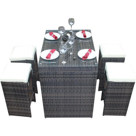 Rattan Outdoor Garden Furniture 5 Piece Bar Set in Mixed Brown