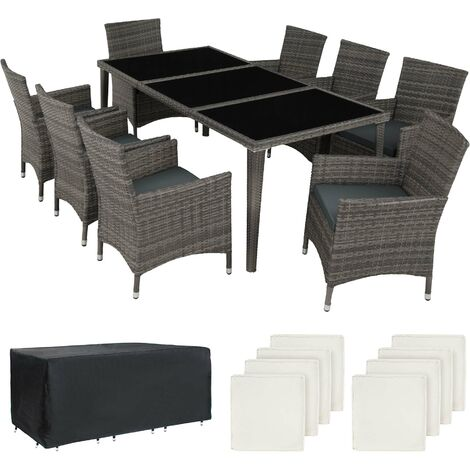 Rattan garden furniture set Monaco aluminium with protective cover - garden tables and chairs, garden furniture set, outdoor table and chairs - grey - grau