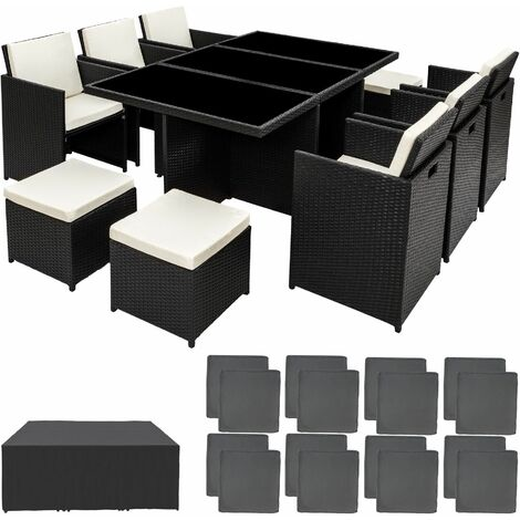 Rattan garden furniture set New York with protective cover - garden tables and chairs, garden furniture set, outdoor table and chairs - black