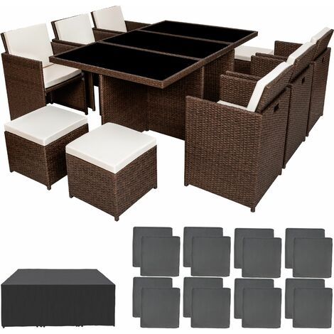 Rattan garden furniture set New York with protective cover - garden tables and chairs, garden furniture set, outdoor table and chairs - antique brown