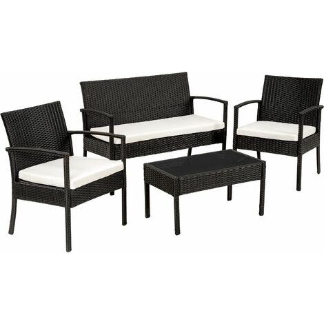 Rattan garden furniture set Sparta 3+1 - garden tables and chairs, garden furniture set, outdoor table and chairs - black