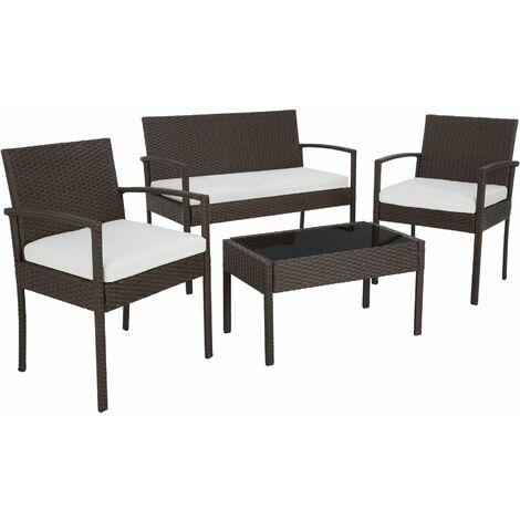 Rattan garden furniture set Sparta 3+1 - garden tables and chairs, garden furniture set, outdoor table and chairs - brown