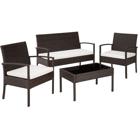 Rattan garden furniture set Sparta 3+1 - garden tables and chairs, garden furniture set, outdoor table and chairs - black/brown - negro/marrón