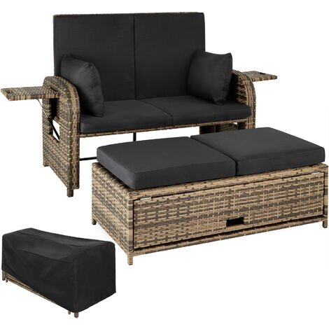 "main image of ""Rattan sofa Crete - 2 seater sofa, garden sofa, recliner sofa"""